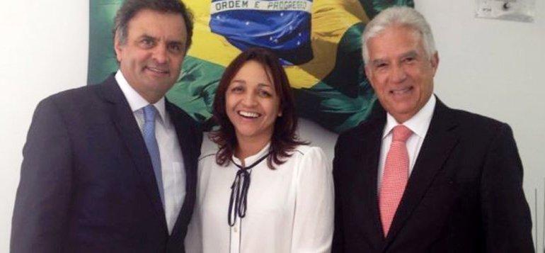 Eliazne Gama está com Aécio Neves, com quem Dino já esteve , mas não está mais