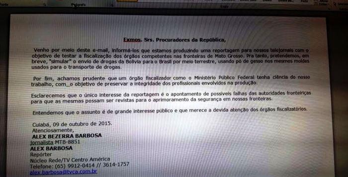 Documento oficial encaminhado pelo jornalistas ao MPF de Mato Grosso