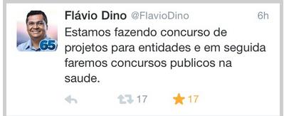A promessa inicial de Dino, falando de concurso público...