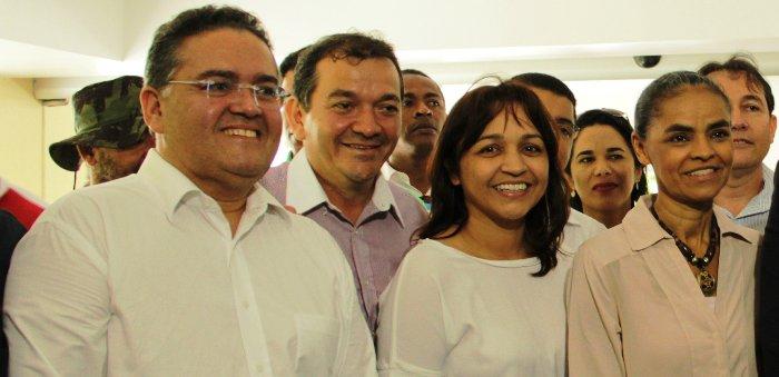 Eliziane entre Roberto Rocha, Marina Silva e Paulo Matos logo atrás: PSB, Rede e PPS no mesmo espaço...
