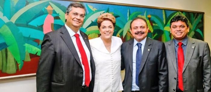 Walir, entre Dino, Dilma e Márcio Jerry: negócio avalizado pelo governador maranhense