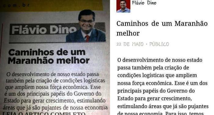 """Artigo de Dino e comentário do governador nas redes sociais: """"Maranhão melhor"""" como frase..."""