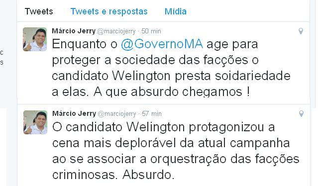 Os twiites de Márcio Jerry: tentativa de criminalizar ação parlamentar legítima pelos direitos humanos