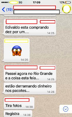 Conversa do aplicativo WhatsApp: zona rural