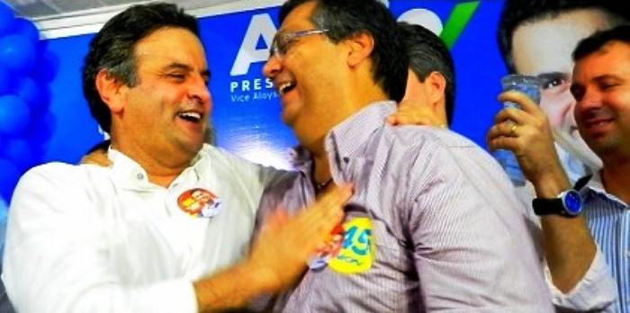 Aécio esteve com Flávio Dino em 2014, mas, dificilmente, estará no mesmo palanque em 2018