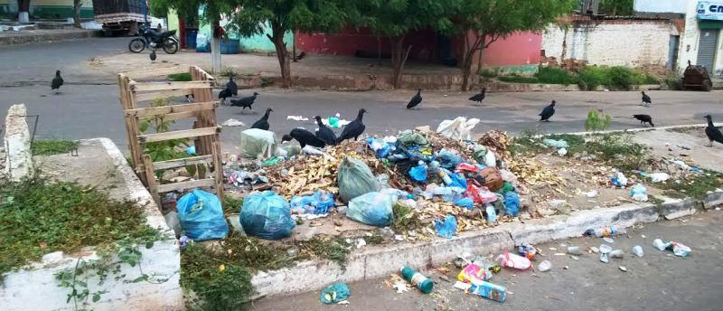 Urubus tomam conta de ruas e avenidas tomadas pelo lixo, na cidade abandonada pelo prefeito Zé Leandro,