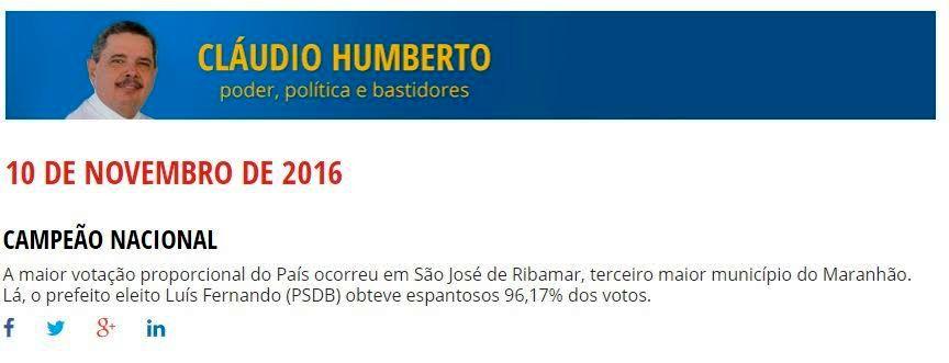Cláudio Humberto destacou a liderança pessoal de Luís Fernando Silva