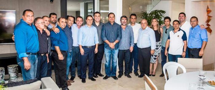 Fábio, Macedo com seus aliados prefeitos e o deputado Weverton Rocha