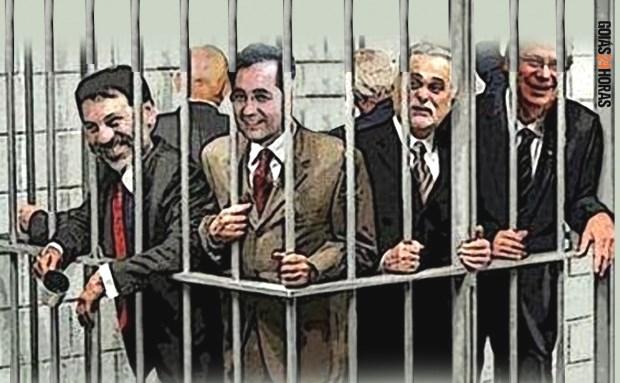 Ilustração mostra que, apesar dos pesares, políticos ainda vão para trás das grades, ao contrário de juízes e procuradores pegos na mesma situação